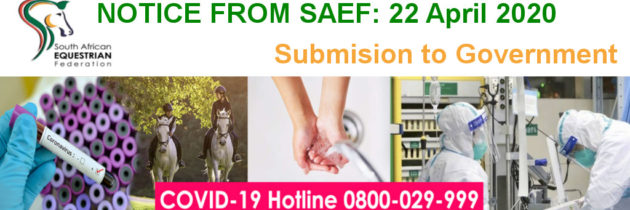 Application for specific essential equine care to be included in the Government Guidelines for COVID-19
