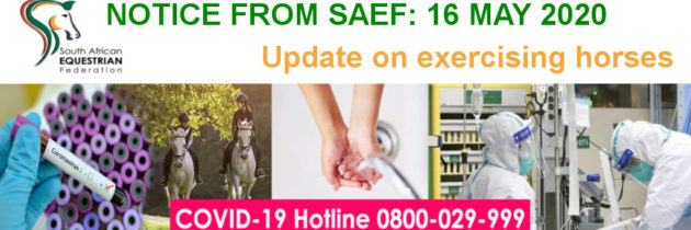 Update from the SAEF Exco regarding Covid-19 and the exercising of horses