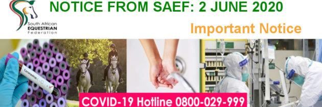 SAEF Notice: Equestrian Events
